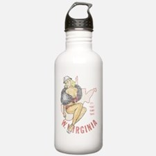 Faded West Virginia Pinup Water Bottle