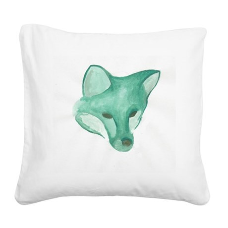 Foxy Head (teal) Square Canvas Pillow
