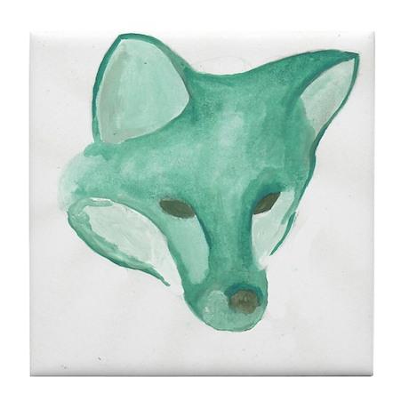 Foxy Head (teal) Tile Coaster