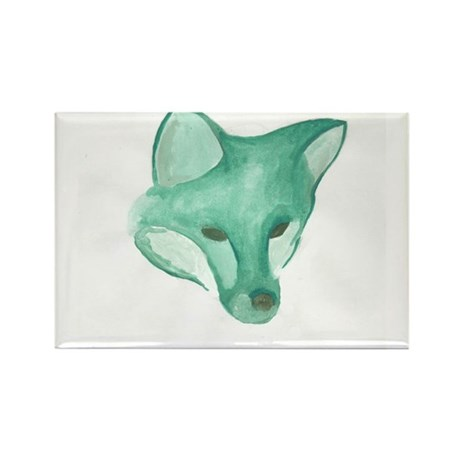 Foxy Head (teal) Rectangle Magnet