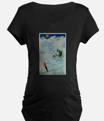 Vintage Arosa Switzerland Travel Maternity T-Shirt