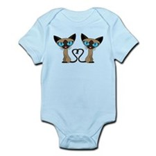 Cute Siamese Cats Tail Heart Body Suit
