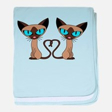 Cute Siamese Cats Tail Heart baby blanket
