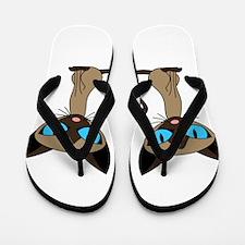Cute Siamese Cats Tail Heart Flip Flops