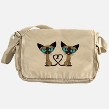 Cute Siamese Cats Tail Heart Messenger Bag