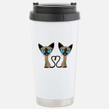Cute Siamese Cats Tail Heart Travel Mug