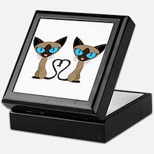 Cute Siamese Cats Tail Heart Keepsake Box
