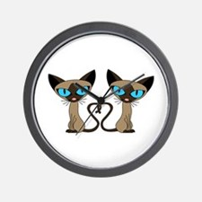 Cute Siamese Cats Tail Heart Wall Clock