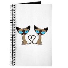 Cute Siamese Cats Tail Heart Journal