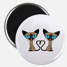 Cute Siamese Cats Tail Heart Magnet