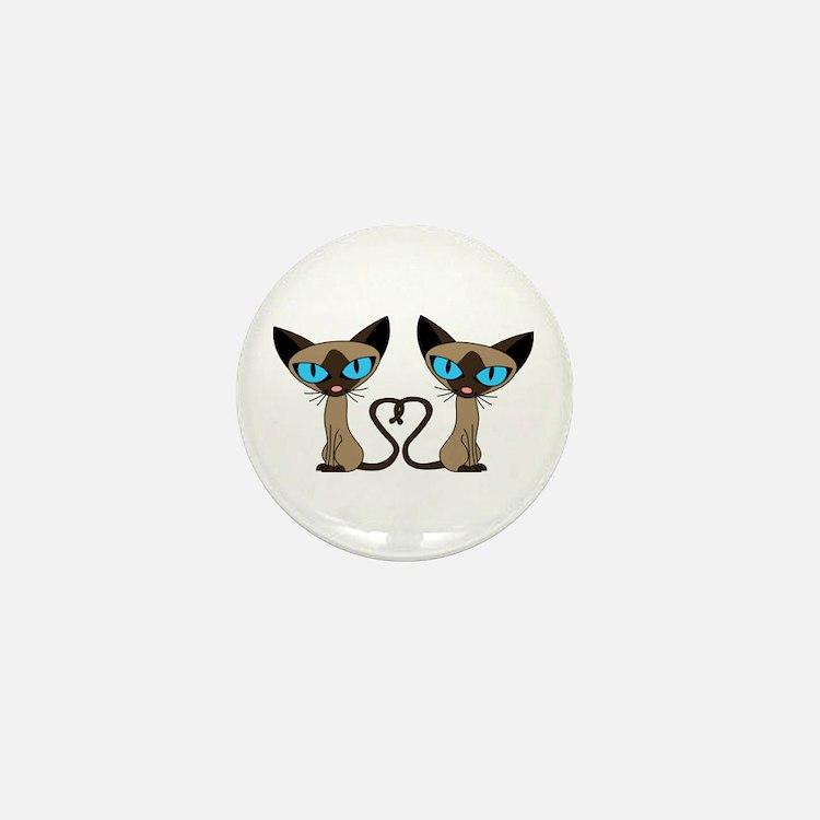 Cute Siamese Cats Tail Heart Mini Button