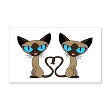 Cute Siamese Cats Tail Heart Rectangle Car Magnet