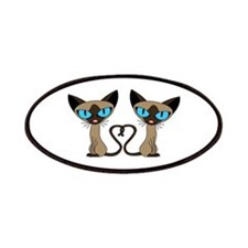 Cute Siamese Cats Tail Heart Patches