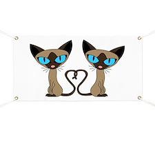 Cute Siamese Cats Tail Heart Banner