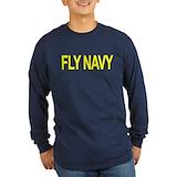 Fly navy Long Sleeve T Shirts
