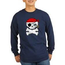 Pirate Skull Shirt (Blue LS) M
