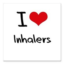 "I Love Inhalers Square Car Magnet 3"" x 3"""