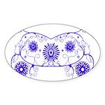 Floral Design Oval Sticker