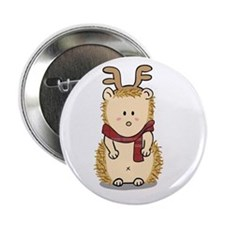 """Cute Hedgehog with Reindeer Hair band 2.25"""" Button"""