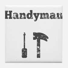 Handyman with Hammer and Screw Driver Tile Coaster