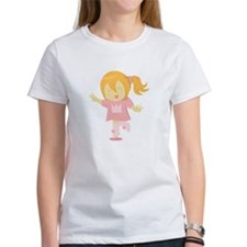 Happy girl in a crown tee skipping happily T-Shirt