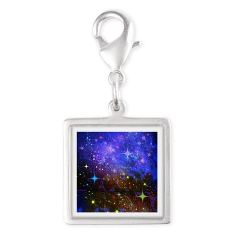 Galaxy Space Scene Graphic Silver Square Charm