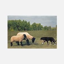 Dog Meets Sheep Rectangle Magnet