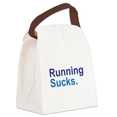 Running Sucks Blue Canvas Lunch Bag