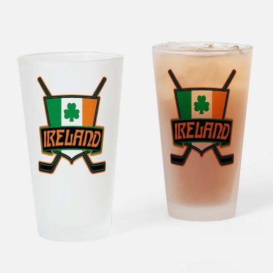 Ireland Irish Ice Hockey Shield Drinking Glass