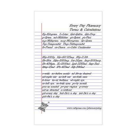 Pharmacy Terms & Calculations Sticker (Rectangular