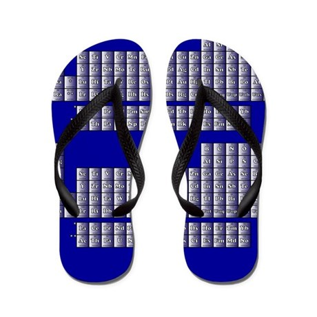 Deluxe Periodic Table (blue) Flip Flops