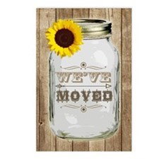 Rustic Change Of Address Mason Jar Sunflower Postc