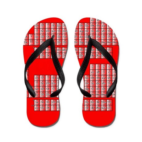 Deluxe Periodic Table (red) Flip Flops