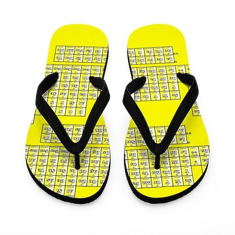 Deluxe Periodic Table (yellow) Flip Flops