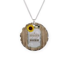 Home Sweet Home Rustic Mason Jar Necklace
