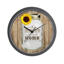 Home Sweet Home Rustic Mason Jar Wall Clock