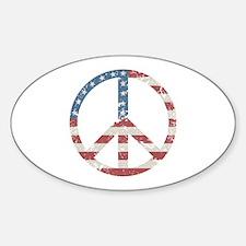 Vintage Peace USA Sticker (Oval)
