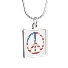 Vintage Peace USA Silver Square Necklace