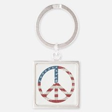 Vintage Peace USA Square Keychain
