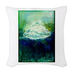 Snowy Mountain Woven Throw Pillow