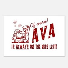 Nice List Ava Christmas Postcards (Package of 8)