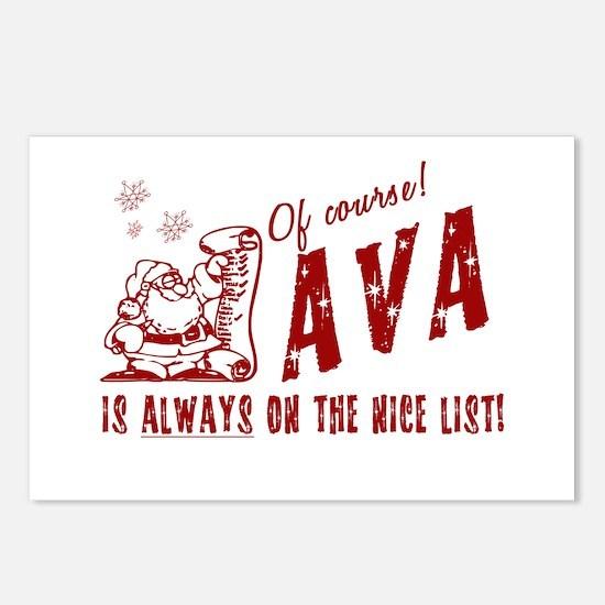 Nice List Ava Christmas Postcards (Package of 8)
