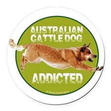 red ACD addicted Round Car Magnet