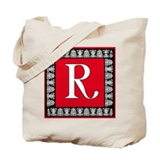 Red and Black Art Deco Initial R Tote Bag