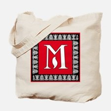 Red and Black Art Deco Initial M Tote Bag