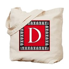 Red and Black Art Deco Initial D Tote Bag