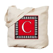Red and Black Art Deco Initial C Tote Bag