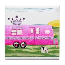 camper travel trailer camping queen Tile Coaster
