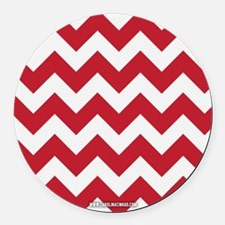 Chevron Red Round Car Magnet