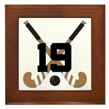 Field Hockey Number 19 Framed Tile